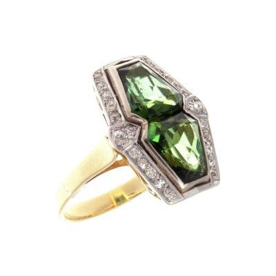 French Early Art Deco Tourmaline Diamond Gold Platinum Ring