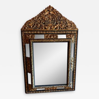 French Ebony Repousse Brass Mirror with Beveled Glass
