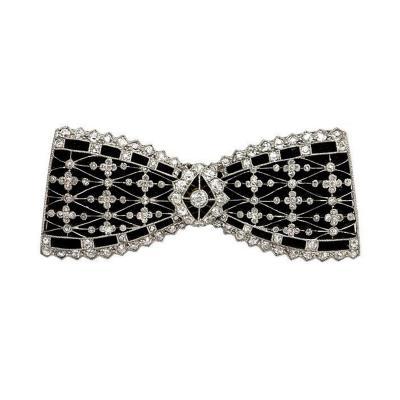 French Edwardian Diamond Black Velvet and Platinum Bow Brooch
