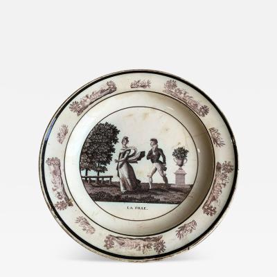 French Empire Creil Plate La Fille