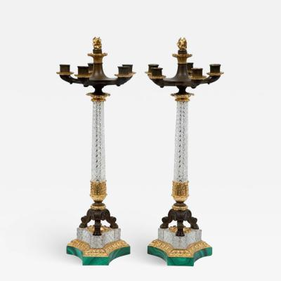 French Empire Crystal Candelabra Pair