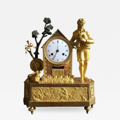 French Empire Figural Mantel Clock Circa 1805