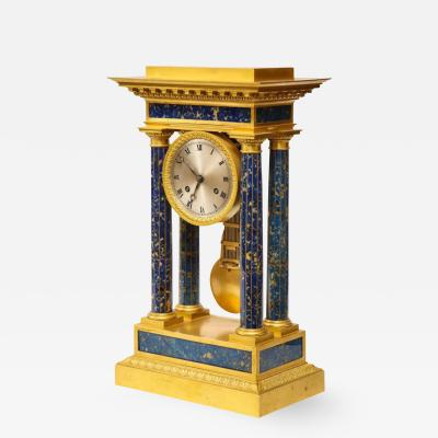 French Empire Ormolu and Lapis Lazuli Mantle Clock circa 1860