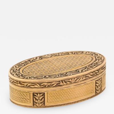 French Empire Oval Gold Snuff Box by H A Adam Paris circa 1820