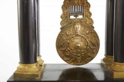 French Empire Portico Black Bronze Table Clock
