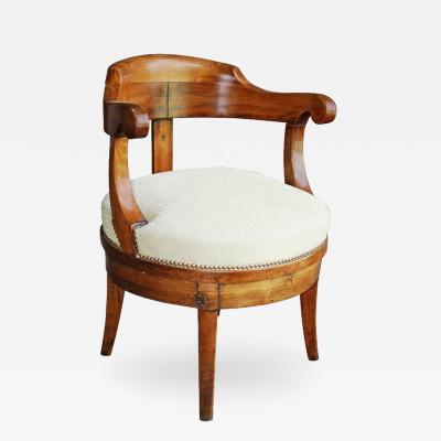 French Empire Revolving Desk Chair 19th Century