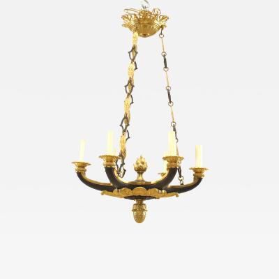 French Empire Style 19th Cent Ebonized and Gilt Chandelier