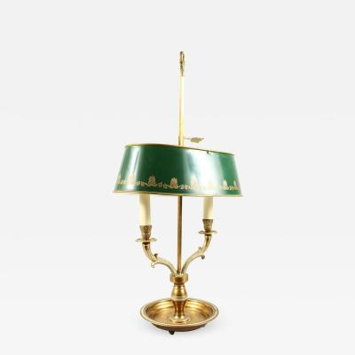 French Empire Style Bouillotte Table Lamp Brass with Green Tole Shade