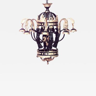 French Empire Style Bronze and Dore Trim Arm Chandelier