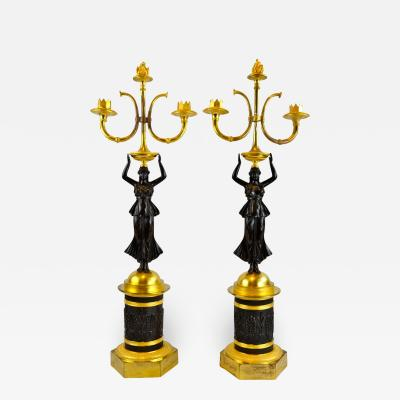 French Empire Style Figural Candelabra Pair