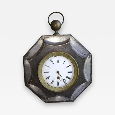 French Empire Tole Wall Clock 19th Century