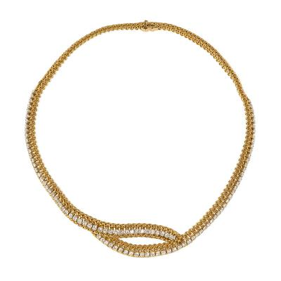 French Estate Woven Gold and Diamond Crossover Necklace