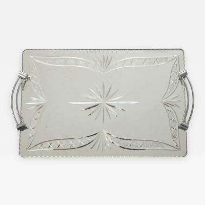 French Etched Mirrored Tray