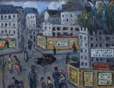 French Expressionist Mid Century Parisian Street Scene Painting