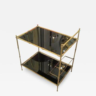 French Faux Bamboo Brass Bar Cart with Smoked Glass Tops