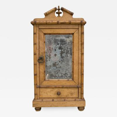 French Faux bamboo maple miniature armoire