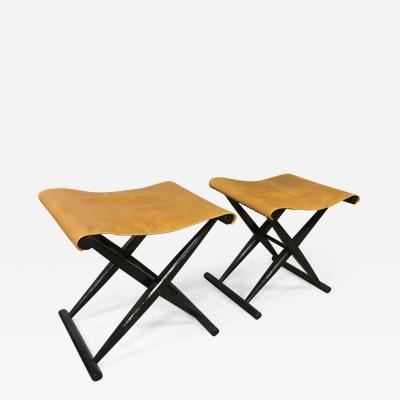 French Folding Black X Stool with Leather Seat