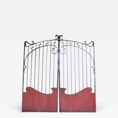 French Forged Iron Art Nouveau Painted Entrance Gate