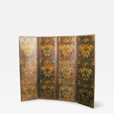 French Four Panel Polychrome Leather Screen