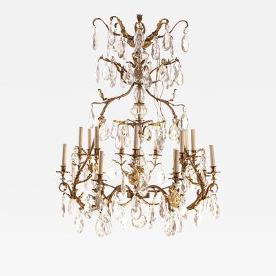 French Gilt Bronze and Cut Glass 14 Light Chandelier 19th Century