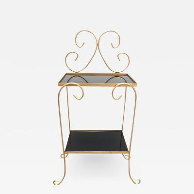 French Gilt Metal Side Table with Two Tier Black Glass Shelves