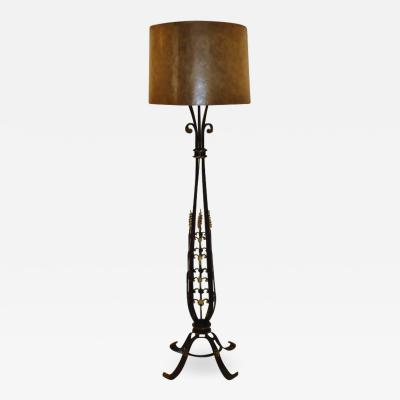 French Gilt on Wrought Iron Art Deco Floor Lamp circa 1920