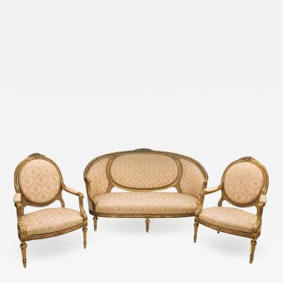 French Giltwood Louis XVI Style Cameo Back Sofa Settee and Pair of Armchairs