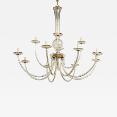 French Glass 12 arm Chandelier