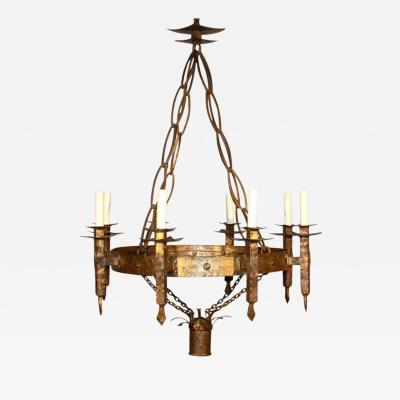 French Gothic Style Gilt Iron Chandelier