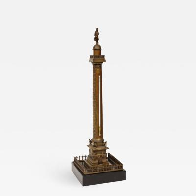 French Grand Tour Bronze Column of the Place Vendome in Paris 19th Century
