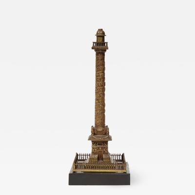 French Grand Tour Mini Bronze Column of the Place Vendome in Paris 19th Century