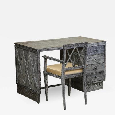 French Gray Cerused Oak Desk and Chair