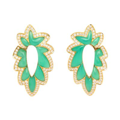 French Green Chalcedony Diamond Earrings