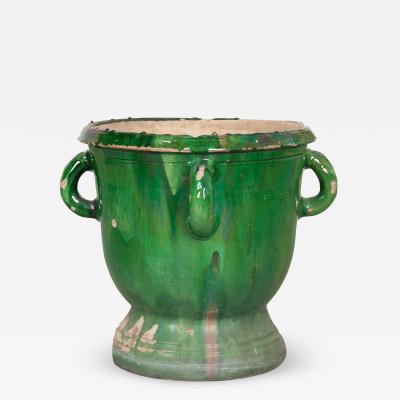 French Green Glazed Pot
