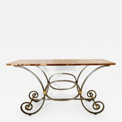 French Iron and Marble Top Console