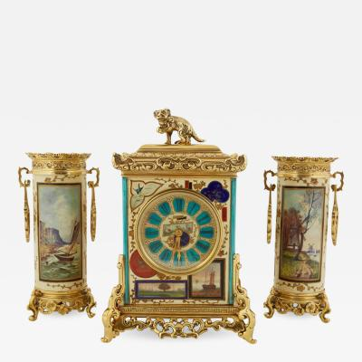 French Japonisme Gilt Metal Mounted Three Piece Porcelain Clock Garniture