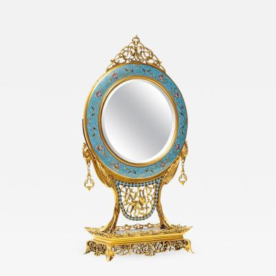French Japonisme Ormolu and Champleve Cloisonne Enamel Mirror Edouard Lievre