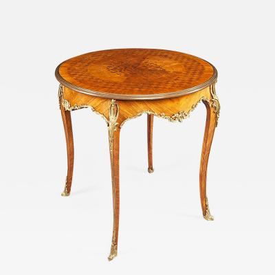 French Kingwood and Gilt Bronze Parquetry Round Side Table 19th Century