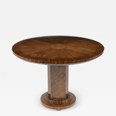 French Lacquered Art Deco Style Round Center Table