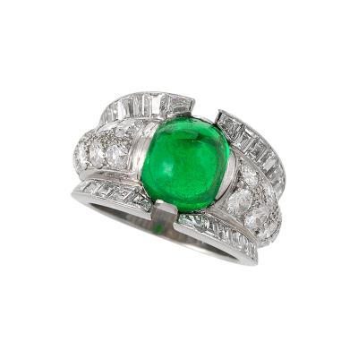 French Late 20th Century Colombian Emerald and Diamond Ring