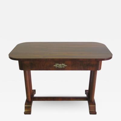 French Late Art Deco Modern Neoclassical Desk Console Vanity in Walnut