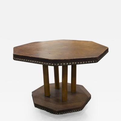 French Leather Two Tiered Occasional Table