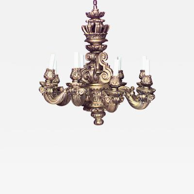 French Louis XIV Style Wood Gesso Gold Chandelier