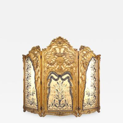 French Louis XV Style 19th Cent Carved Gilt 3 Fold Screen