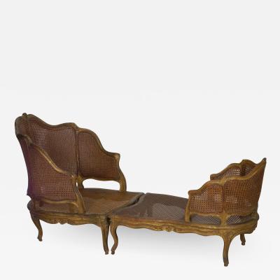 French Louis XV Style Antique Duchesse Bris e Arm Chair Lounge 19th Century