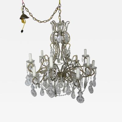 French Louis XV Style Crystal Beaded 12 Arm Chandelier C 1930