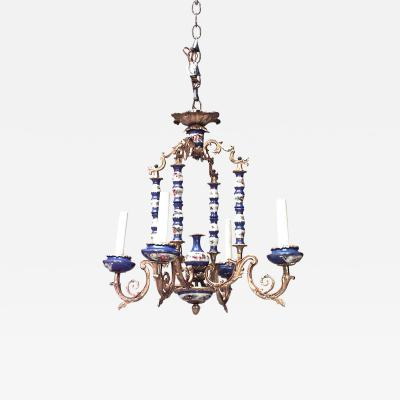 French Louis XV Style Sevres Porcelain Chandelier