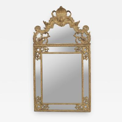 French Louis XVI 18th Cent Carved Gilt Wall Mirror