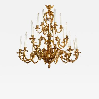 French Louis XVI Style 24 Light Bronze Chandelier