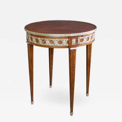 French Louis XVI Style Mahogany Circular Side Center Table with Brass Mounts